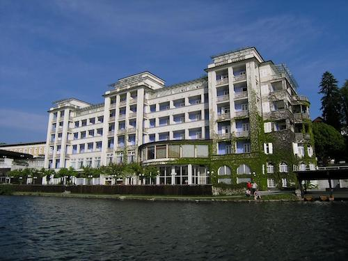 Grand hotel Toplice viewed from the Lake Bled